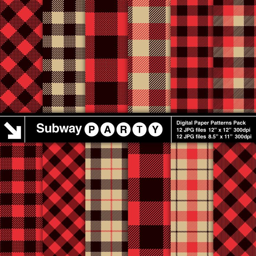 Lumberjack Flannel Buffalo Check Plaid Red Black Khaki