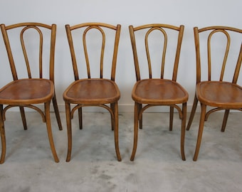 Vintage Set of 4 Bentwood French Bistro Chairs (lighter wood)