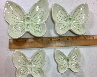 Set of Four Light Green Butterfly Snack Plates, Stacking Butterfly Plates by Angelcraft, Set of 4 Small Plates Previously 15 Dollars on SALE