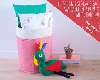 Flamingo Laundry Bag Red, Large Fabric Clothes Basket, Tropical Decor, Bedding Linen Storage, Big Laundry Hamper, Bathroom Towels Storage