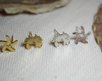Starfish with crab earrings in silver, gold