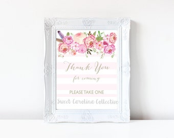 Thank you for coming / printable favors sign / instant download / P2