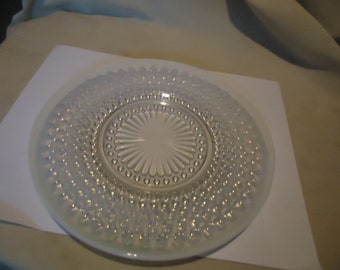 """Vintage Lot of 2 Moonstone Hobnail Opalescent Glass Plates 8 1/4"""", DAMAGED, collectable"""