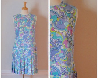 60s Dress / 60s Mod Dress / Vintage 60s Dress / Paisley Dress / Drop Waist Dress / Sleeveless Dress / Day Dress / Blue / Pastel / Size Small