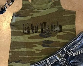 Cash. Hank. Willie. Waylon. - Camo Alternative Tank Top - camouflage - country music - raw hem - distressed hunter