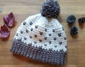 Crochet Fair Isle hat // Chunky hat, Fair Isle Pom pom Hat // crochet hearts hat // fair isle hat // fair isle women's hat // winter hat