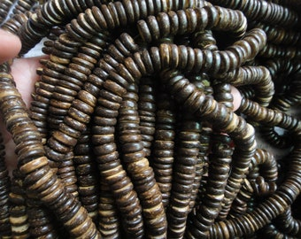 10mm tumbled cocount heishi beads, dark brown, 15.5 inch