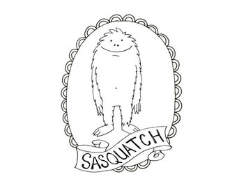 BigFoot Sasquatch Yeti Cryptozoology Cryptid Download Printable Embroidery Pattern Digital Downloadable Hand Embroidery 0046
