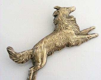 Vintage Jewelry - Vintage Brooch - Border Collie - Dog jewelry - Vintage Pin - Vintage Brass Jewelry - Coat Brooch - handmade jewelry