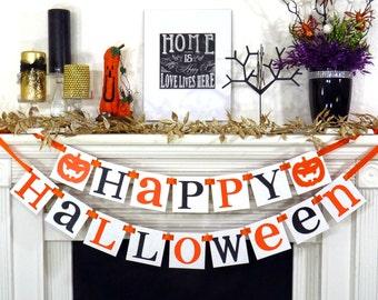 Halloween Banner Halloween Decoration Garland Sign Fall Party Decor Orange and Black