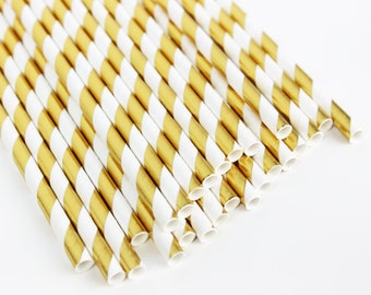 Paper Straws Gold Straws Gold Foil Straws Gold Stripe Straws Birthday Party Favors Baby Shower Favors Wedding Favors Bridal Shower Favors