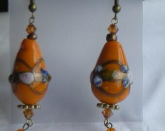 Lampworked glass and swarovski crystal earrings