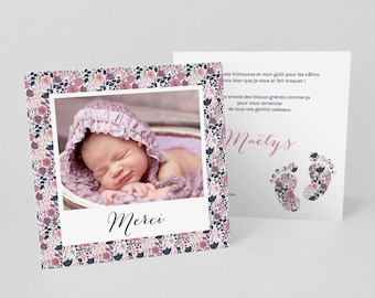 Tiny toes birth/baptism thank you card, printed by walking liberty purple/pink - model m