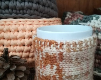 Knitted cup cozy, Handmade cup cozy, Coffee and tea cup cozy