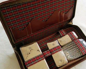 Shaving Kit, Split Cowhide, Vintage, Travel Set