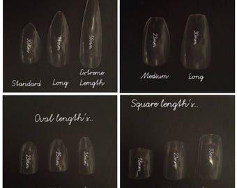 10-600pc nails, Clear fullcover nails, square false nails, oval false nails, clear false nails, clear fake nails, do it at home kit, short