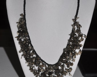 Bib Necklace Smoky Quartz Chip #719