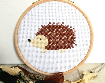 Easy Cross stitch kit - Hedgehog - For Beginners - Modern Cross Stitch Pattern