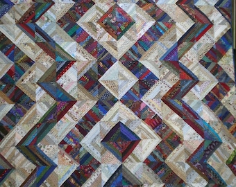 Traditional Full Size Light and Dark Scrap Quilt in Dynamic Zigzag Design