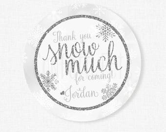 Winter Wonderland Favor Tags, Thank You Snow Much Tag, Snowflake Favor Tags, Silver and White, Girl Birthday Party Favors, Personalized