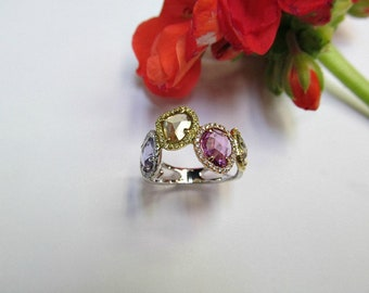 Gorgeous Multi-Colored Sapphire and Diamond Ring