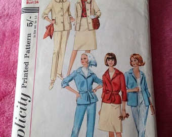 Vintage 1960s Simplicity Sewing Pattern for ladies Jacket, Slacks, Trousers and Skirt.  1965, Craft, Fashion Style.