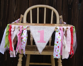 High Chair Banner, 1st Birthday, First Birthday, Girl Banner, Strawberry Shortcake, Burlap Banner, Baby Shower Banner, Polka Dot Banner