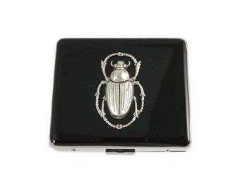 Scarab 7 Day Pill Box Inlaid in Hand Painted Black Enamel Case with Mirror Art Nouveau Egyptian Beetle Personalized and Custom Color Options