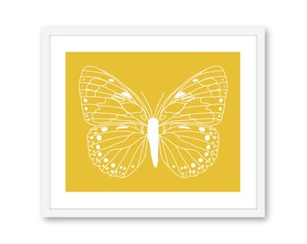 Butterfly Print, Butterfly Wall Art, Butterfly Decor, Butterfly Artwork, Butterfly Art Print, Custom Color, Frame Not Included, Aldari Art