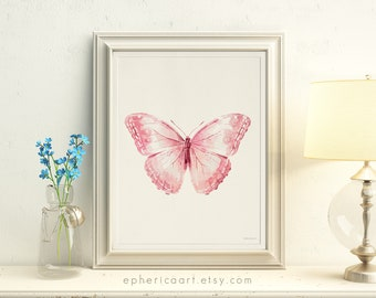 Light Pink Butterfly wall decor, Pale pink Baby girl art, Butterfly nursery decor, Pastel pink Baby girl room decorations, Baby Nursery art
