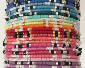 Black Miyuki morse code bracelet