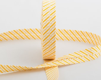 20MM folded cotton fabric: stripe and white/yellow wave