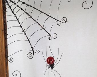 "18""  Barbed Wire Corner Spider Web With Red Spider"