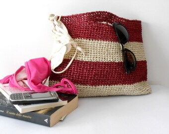 Burgundy handbag, easy crochet bag, elegant summer bag, crochet purse, raffia crochet handbags, block colors, 60s vintage style shopping bag