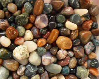 "Gemstones 1 Lb. Tumbled & Polished All Natural 3/4"" - 1-1/4"" Size Gemstone Mix Craft Hobby Wire Wrap"