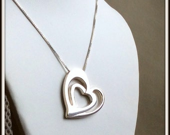 Three hearts pendant 3D sterling silver