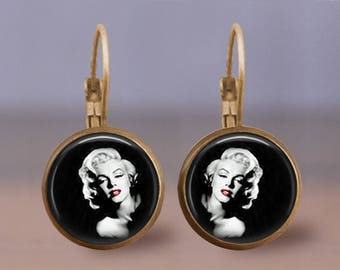 Marilyn Monroe 1 Red Lips Earrings - Jewelry - Choice of Finish - Bronze, Copper, Gunmetal, and Silver Leverback - 12mm - Great Gift Idea