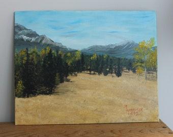 Vintage Autumn Mountain Landscape Painting - Signed M Hardman 1992