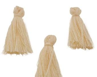 Lot 10 tassels fringes ivory textile 30mm