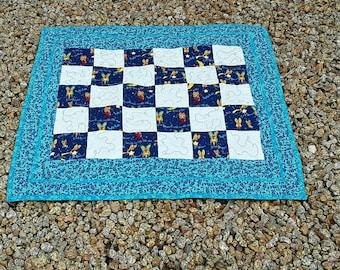Baby Quilt, Baby Shower Gift, Boy Blanket, Blue Baby Quilt, Handmade Blanket