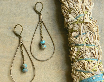 Turquoise earrings tear drop hoop earrings long earrings turquoise jewelry big earrings bohemian jewelry southwestern jewelry south west