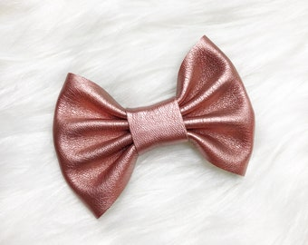 Soft Rose Gold Animal Friendly Leather Bow / Headband or Clip