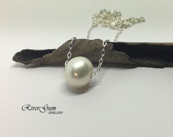 White Pearl Necklace, Single Baroque Freshwater Pearl Necklace, Floating Pearl Necklace, Sterling Silver Necklace