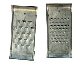 Vintage Graters, Farmhouse Kitchen Decor, Rectangular Graters Course and Fine Grate