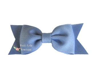 Cornflower Blue Hair Bow/Barrettes/Blue Bows/Blue Hairbows for Ponytail or Pigtails/Toddler Non-Slip Bow/Hair Bows for Preschool Girls
