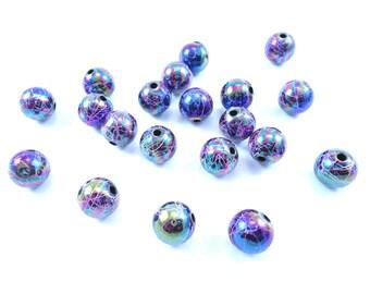 "10 ""Drawbench"" iridescent purple 10mm acrylic round beads"