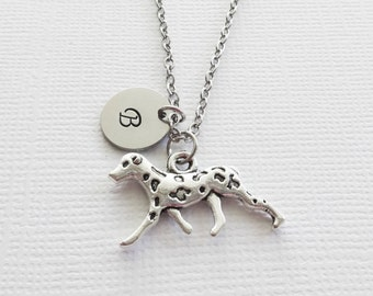 Dalmatian Initial Necklace Dog Necklace Spotted Pup Animal Friend Birthday Silver Alloy Jewelry Personalized Monogram Hand Stamped Letter