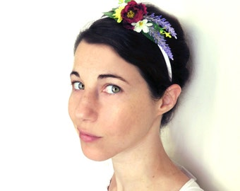 Bridal headband, Floral headband,Floral alive band, flowergirl headband, Boho rustic wedding hair accessory.