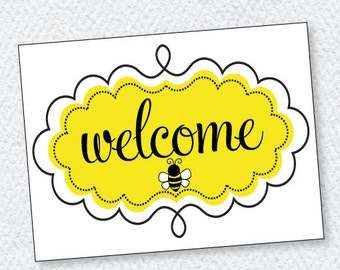 Bee Party PRINTABLES Welcome Sign (INSTANT DOWNLOAD) from Love The Day