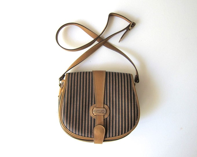Vegan Brown Black Striped Purse Vintage 80s Minimal Cross Body Bag Shoulder Purse Modern Boxy Crossbody Purse Womens